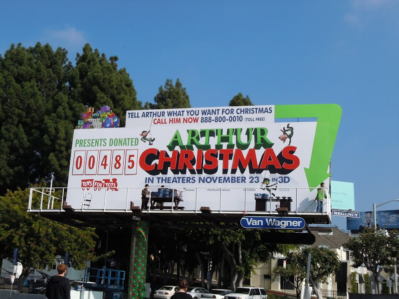 Arthur Christmas charity installation billboard