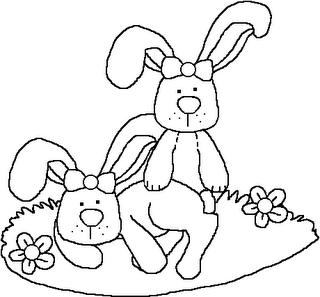 Riscos para pintura de  Coelhinhos da Páscoa