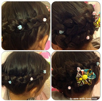 hairbraid and kanzashi flower DIY