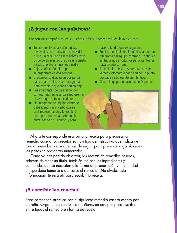 Escribir un recetario de remedios caseros español 3ro bloque 5/2014-2015