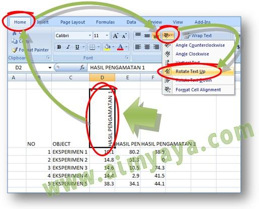 Gambar: Cara Membuat orientasi teks menjadi vertikal, miring, atau diagonal di Microsoft Excel 2007