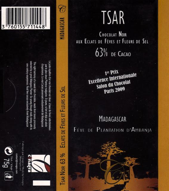 tablette de chocolat noir gourmand tsar chocolat noir aux eclats de fèves et fleurs de sel madagascar 63