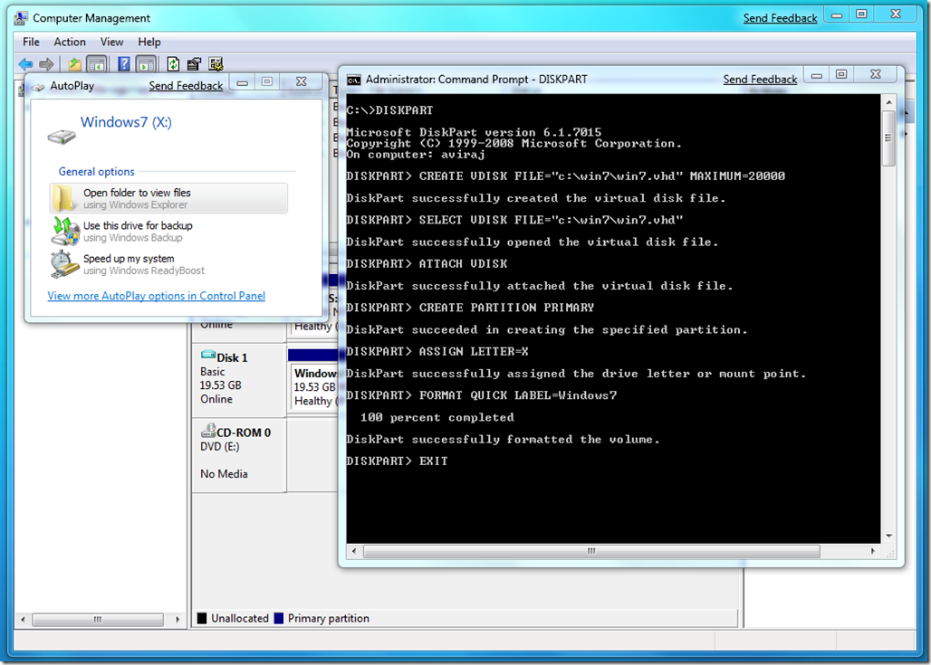 Creating Vhd Using Diskpart Windows 7 Support