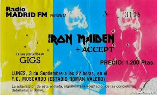 entrada de concierto de iron maiden
