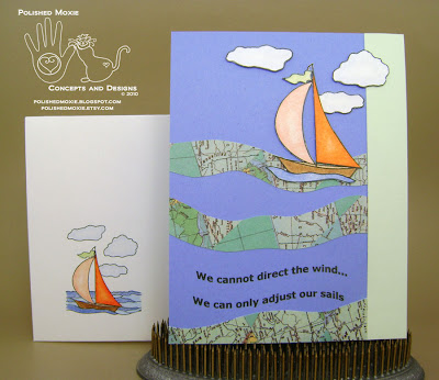 Picture of the finished sailboat card and its coordinating envelope