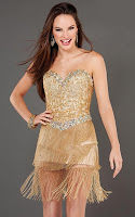 Къса рокля с ресни в златисто, дизайнер Jovani