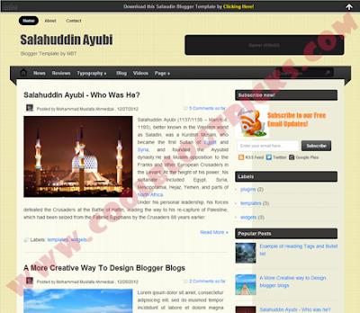 Salahuddin Ayubi - Blogger Template