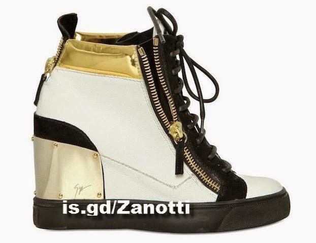 Giuseppe Zanotti Women's Gold Heel Plate Wedge Sneakers