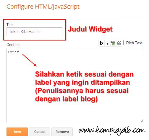 Konfigurasi widget