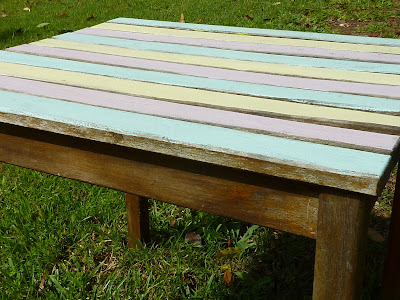 Born Again Creations 4 Side Table In 1950s Stripe