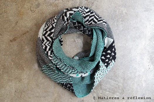 Les inséparables loop jacquard cachemire noir/vert/blanc