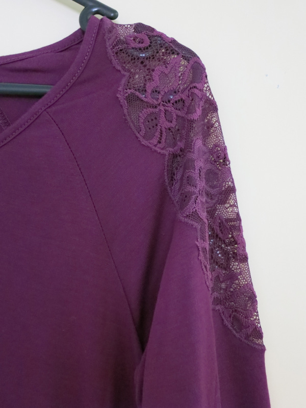 Purple top with purple lace insert on shoulders