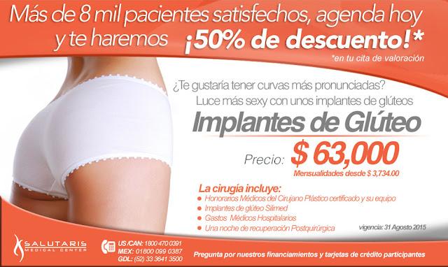 Precio cirugia plastica implantes gluteos Guadalajara