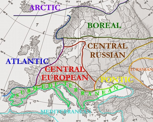 Map of Floristic Regions in Europe