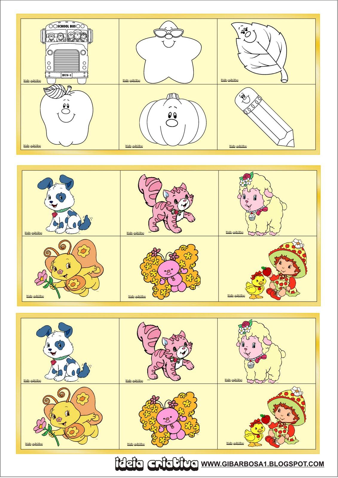 Bingo de Figuras e/ou Jogo da Memória para educação Infantil