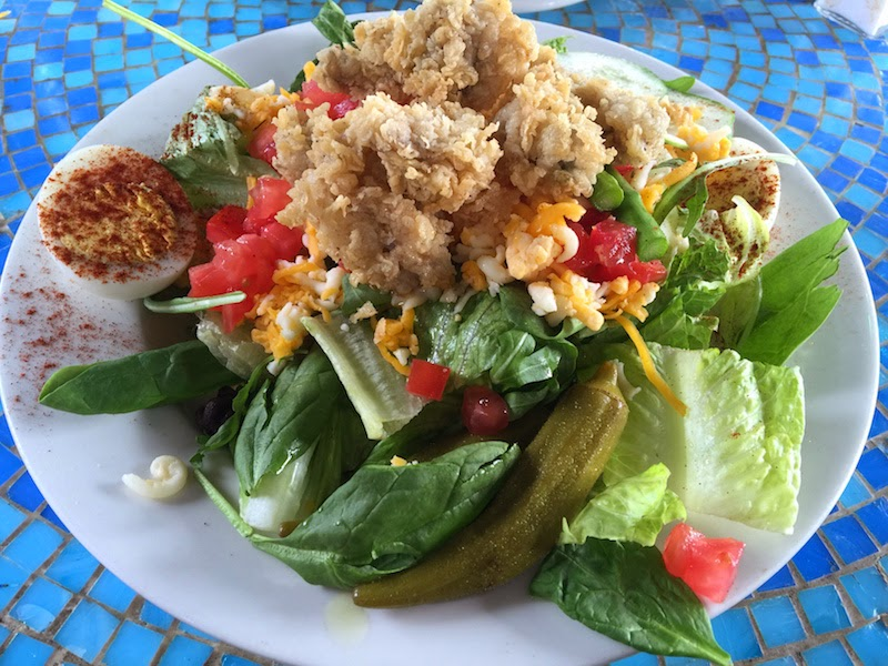 The fried oyster salad at Tubby's Tank House