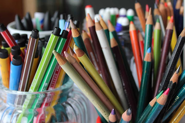 A pretty colourful collection of pencils and markers