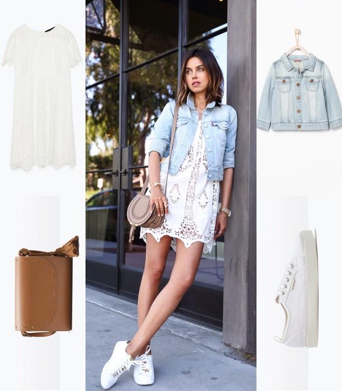 Look conjunto vestido de renda, tênis e casaco de ganga Zara