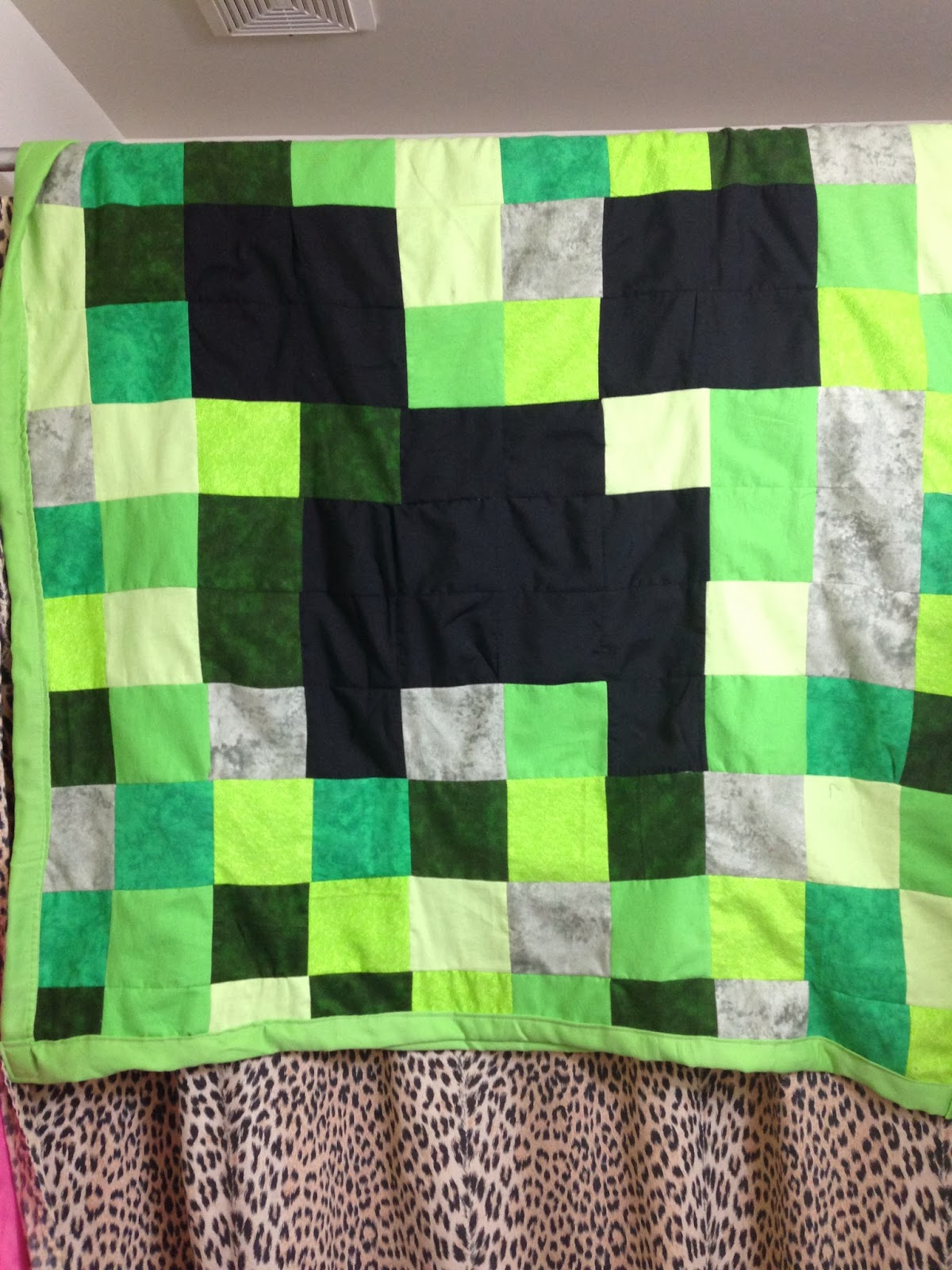 Minecraft creeper quilt diy for under 40 evilflu for Minecraft fabric by the yard
