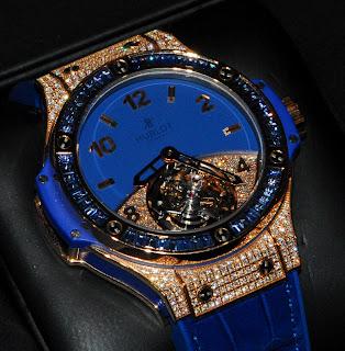 Montre Hublot Big Bang Tutti Frutti Tourbillon Bleue référence 345.PL.5190.LR.0901