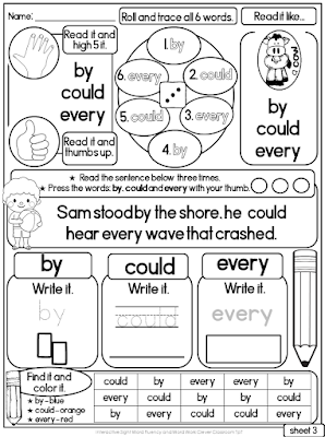Interactive Sight Word Read it and Write it Fluency and Word Work First Grade