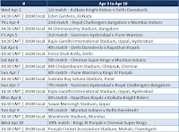 IPL Schedule time table between 3 Apr and 10 Apr