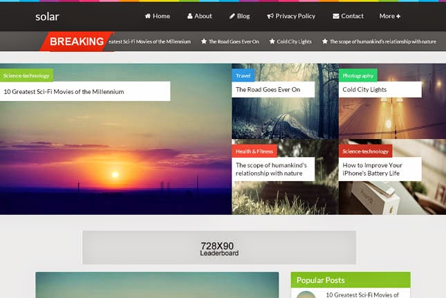 Solar Responsive Blogger Template