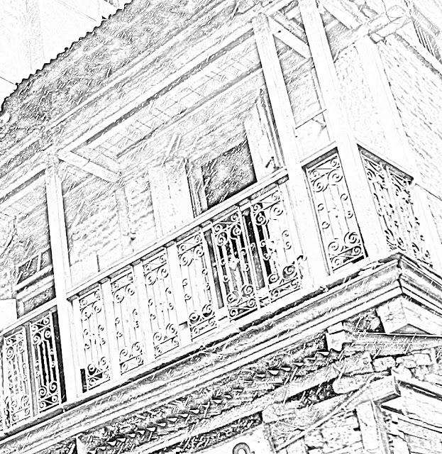 floral motif balcony railing sketch