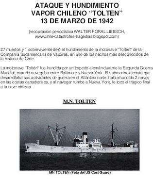 EL TOLTEN, HUNDIDO POR UN SUBMARINO ALEMAN, 1942