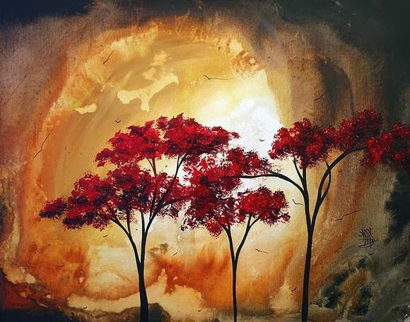 Gambar Lukisan Bunga dan Pohon