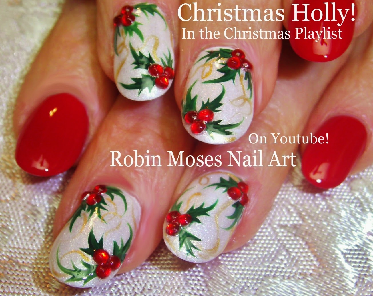 christmas nails xmas nails xmas nail art holly nails holly design cute holly christmas nail art design tutorial diy