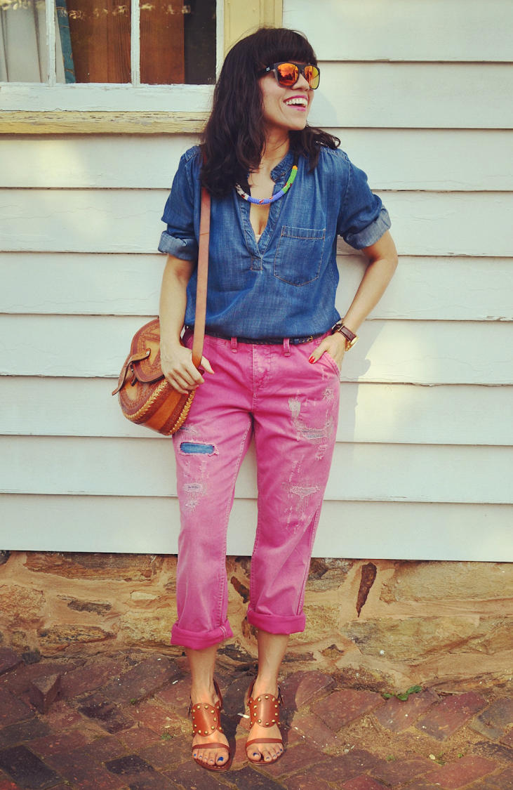COLOR BOYFRIEND JEANS