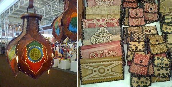Candeeiros e carteiras em couro artesanato da Paraiba