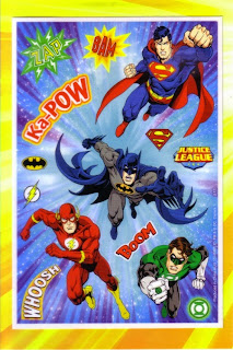 Sticker page from Justice League create a comic birthday card