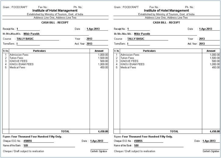 Receipt Format Template Examples – Rent Receipt Format in Pdf