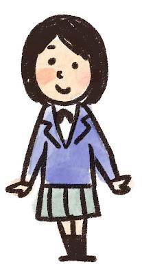 女子中学生・高校生のイラスト「ブレザー姿」