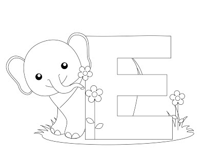 Animal Alphabet Letter E Coloring Pages