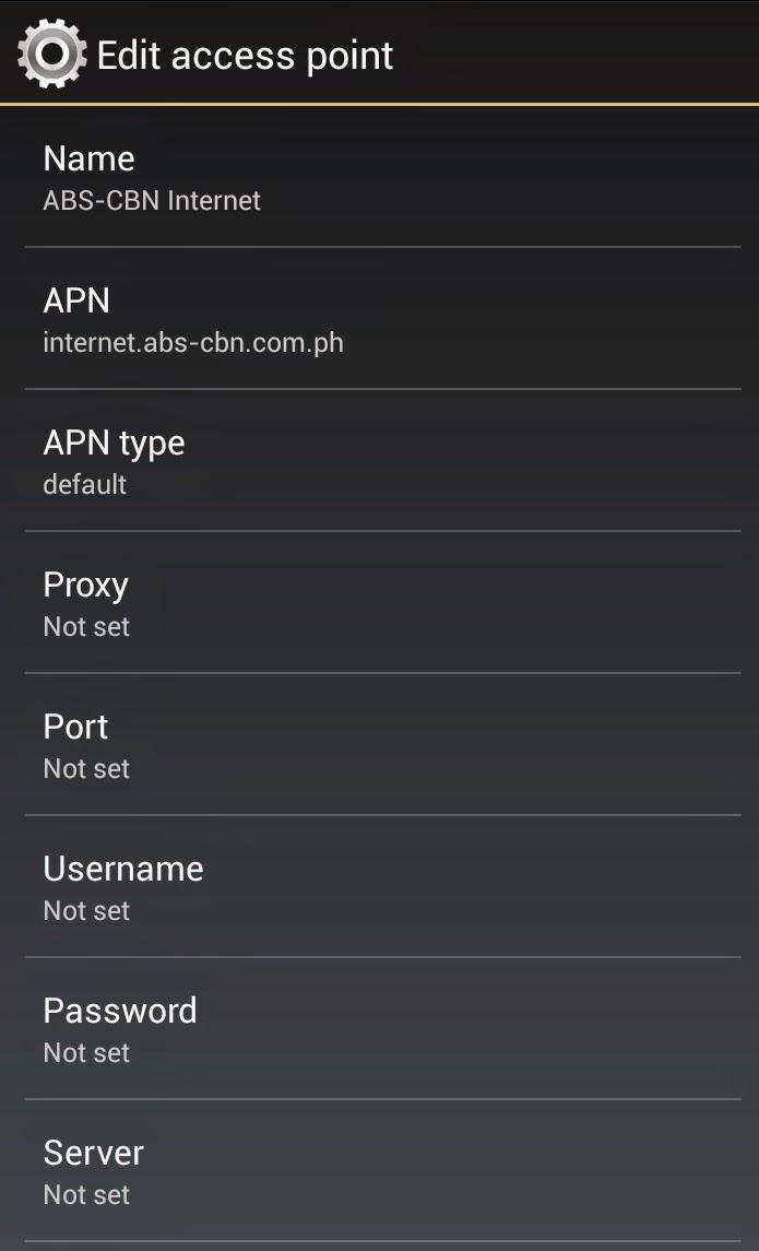 abs cbn mobile sim internet 3g gprs apn manual settings