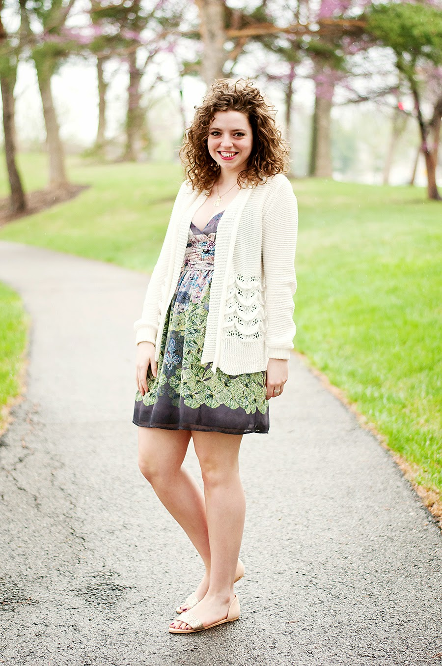 Spring dress with long cardigan