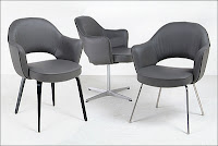Gray Leather - Saarinen Executive Arm Chairs