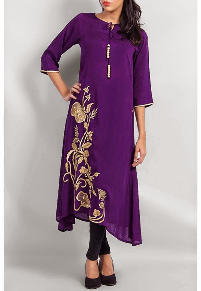 Purple kurta style shirt with dull golden embroidery