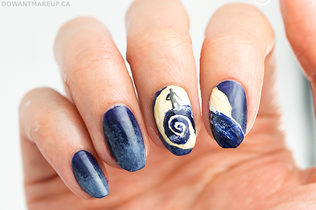 Nightmare Before Christmas Spiral Hill Nail Art