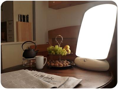 Tee auf Stövchen, Weintrauben, Birnen, Walnüsse, Tageslichtlampe, Zeitungen in der Küche