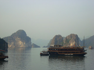 Junk boat sailing in Halong Bay