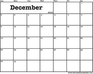 free printable calendar december 2012