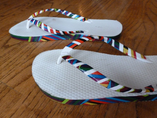 Duct Tape Embellished Flip Flops