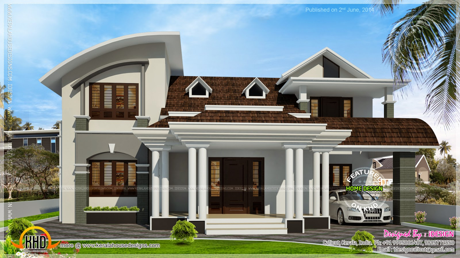 House with beautiful dormer windows kerala home design for Windows for houses design