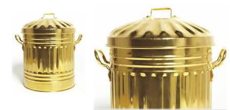 20 Tempat Sampah Terunik di Dunia: Gold Plated Trash Can