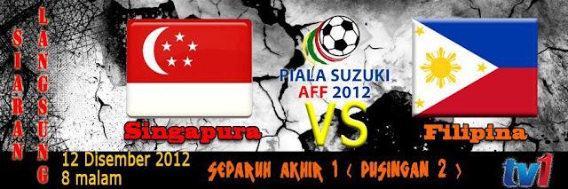 Keputusan Singapura vs Filipina 12 Disember 2012 - Separuh Akhir Kedua Piala AFF Suzuki 2012