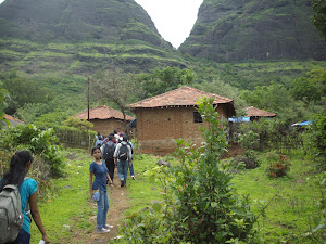 Trekking in a single flie towards Prabalmachi Village.